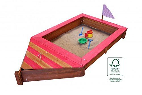 Sandkasten Boot Form aus Holz mit Stauraum Geheimversteck Holzsandkasten Rot oder Blau, Farbe Sandkasten:Farbe Rot