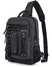 H Hikker-Link Mens Canvas Messenger Bag Laptop Sling Backpack Crossbody Rucksack
