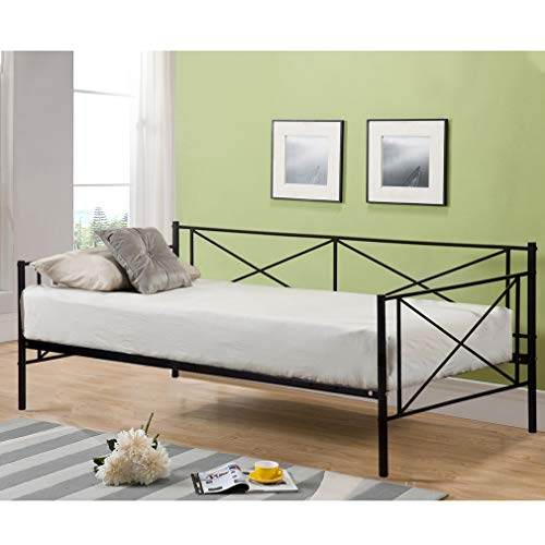 (Daybed Frame Twin Size Metal Platform Day Bed Heavy Duty Box Spring Replacement Living Guest Room,Mattress not Include)