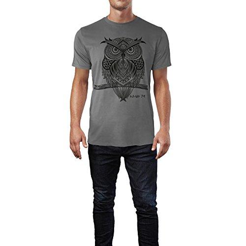SINUS ART ® Eule auf Zweig im orientalischen Stil Herren T-Shirts in Grau Charocoal Fun Shirt mit tollen Aufdruck