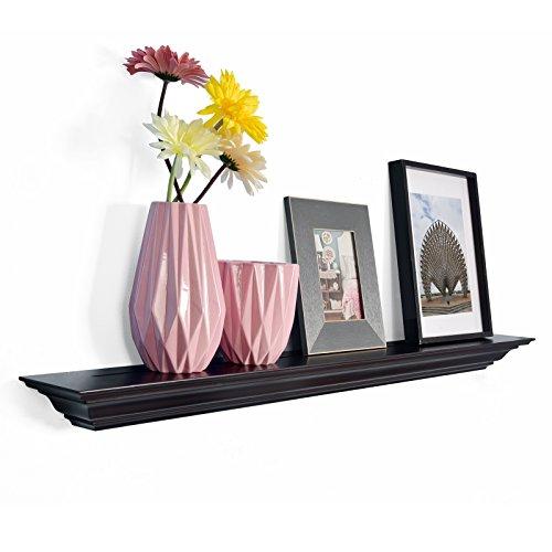 Espresso L-shape Storage Shelf (WELLAND Corona Crown Molding Floating Wall Photo Ledge Shelves Fireplace Mantel Shelf (36-Inch, Espresso))
