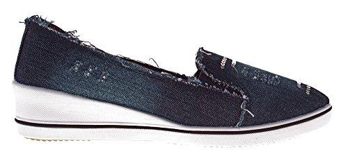 Leinenschuhe Scandi Optik Gr Stoffschuhe Keil Schuhe 42 Dunkelblau Wedges Slipper Jeans Halb Ballerina 36 Damen qwrPxIXr