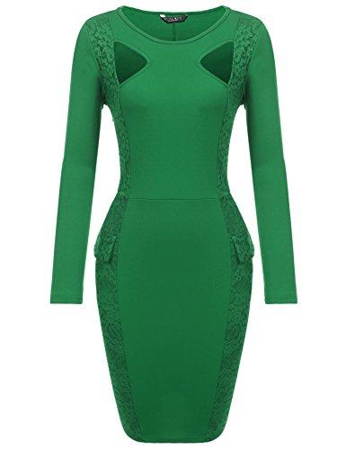 SE MIU Women's Official Wear To Work Long Sleeve O Neck Pencil Bodycon Dress Green - Miu Official Miu
