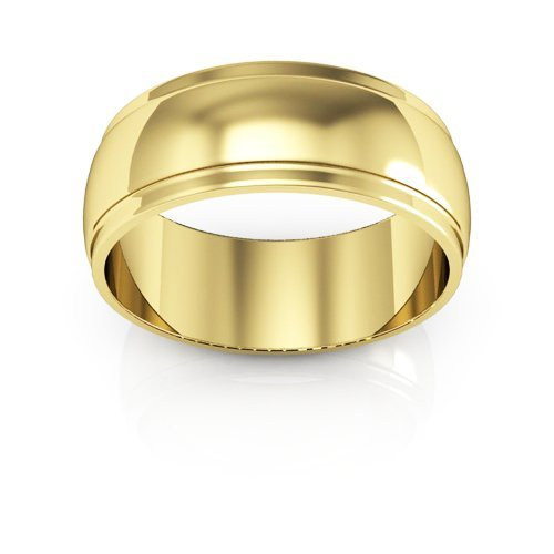 14K Yellow Gold men's and women's plain wedding bands 7mm half round edge, 9