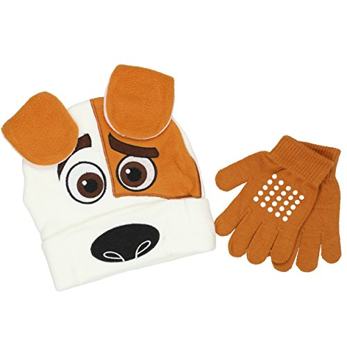 Beanie Baby Costume Pet (The Secret Life of Pets Youth Beanie Hat and Gloves Set (One Size, Max White/Brown))
