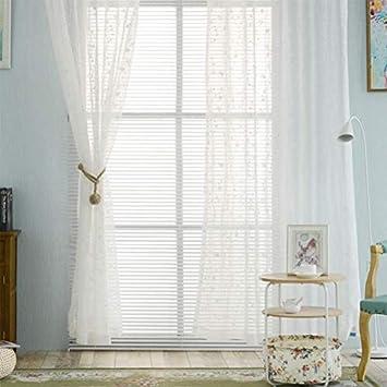 Weiss Einzelschicht Transparent Voile Osen Vorhang 2 Farben