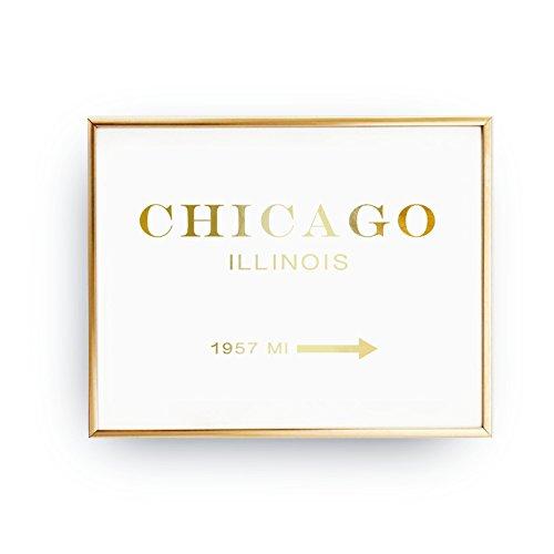 Chicago Illinois 1957 MI, Chicago Print, Girl Inspired Poster, Bedroom Decor, Real Gold Foil Print, Inspirational Poster, Illinois Print - 1957 Poster Print