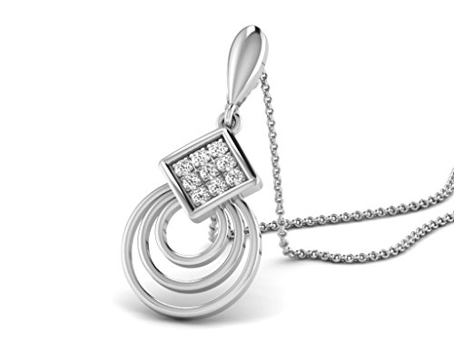 Or Blanc 18 ct Pendentifs Diamant , 0.018 ct Diamant, GH-SI, 1.44 grammes.