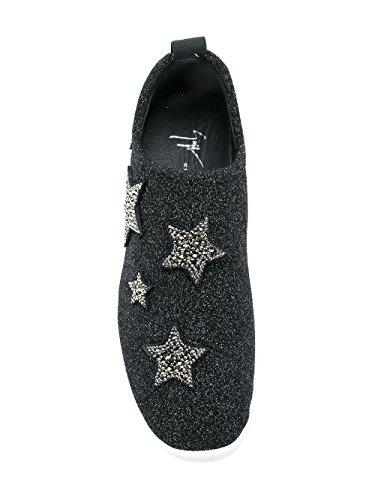 Damen Design Zanotti Rs80038002 Schwarz Giuseppe Glitzer Glisser Sur Chaussures De Sport