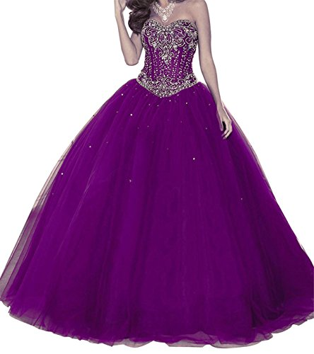 Gown New Quinceanera (Griffith Nancy 2018 New Quinceanera Dress Formal Prom Party Pageant Ball Dresses Bridal Gowns (Purple, 6))