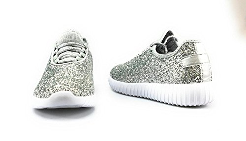 Forever Link Women's Remy-18 Glitter Sneakers | Fashion Sneakers | Sparkly Shoes for Women | Silver-18 5.5