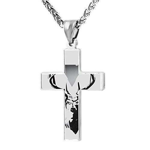Elelab Fashion Hipster Deer Cross Necklace Zinc Alloy Pendant Creative Personalized Accessories Prayer Christian 24 Inch