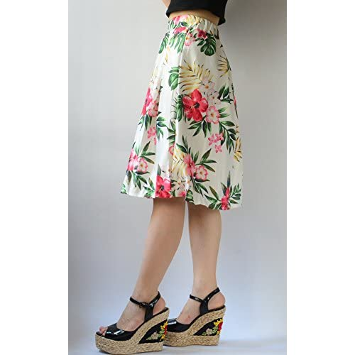 YSJ Womens Midi Skirt High Waist A-Line Floral Leaf Print
