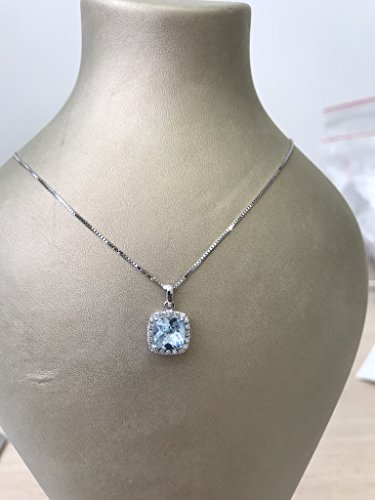 Cushion Diamond Necklace (Solid gold handmade cushion cut blue topaz and diamond halo necklace)