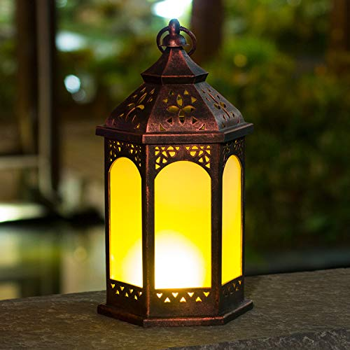 "Decorative Lantern Outdoor Indoor,HAPJOY 14"" LED Lanterns Battery Operated Vivid Fire Effect, Vintage Style -8 Lumens"