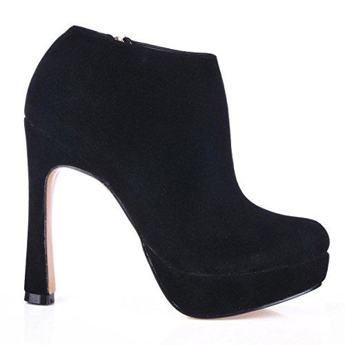 Best 4U? Women's Ankle Boots Rubber Sole Round Toe 13CM High Heel Steady Boots Zipper Elastic Suede Boots 3CM Platform Winter Fall DFGt4