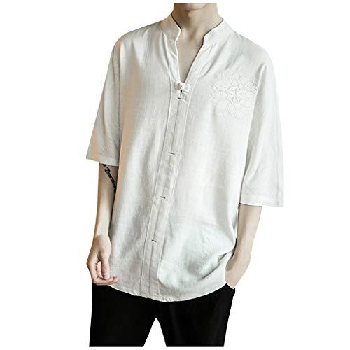 ANJUNIE Men's Vintage Linen Patchwork Half Sleeve T-Shirt ,Pure Color Comfort Loose ()