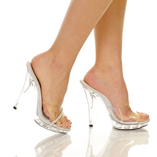 Clear Slip In Peep Toe Heels - 8 from The Highest Heel Enterprises LLC