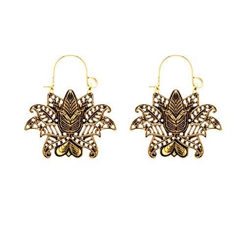 CCOOfhhc Earring Studs For Women'S Bohemian Ethnic Drop Vintage Earrings Openwork Lotus Heart Flower Basket Metal Ms Earrings Jewelry