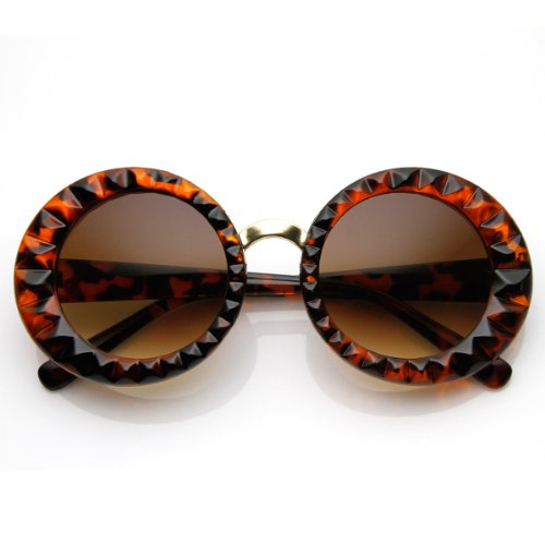 Amber Glass Shiny Tortoise (Faceted Round Circle Oversized Sunglasses (Shiny-Tortoise Amber))