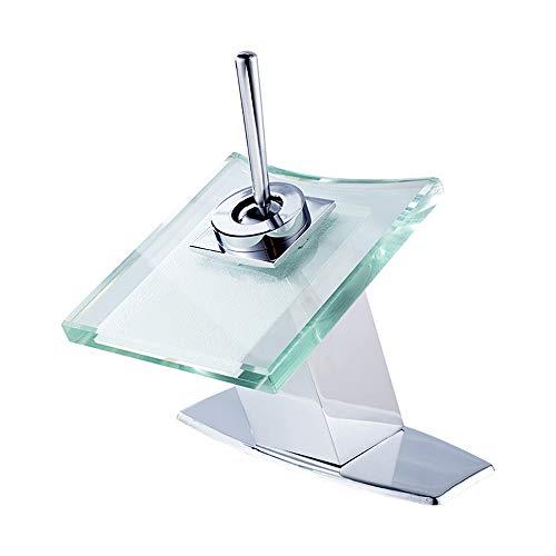 Top-Home Glass Spout Basin Faucet Bathroom Waterfall Sink Faucet Brass Mixer Faucet Single Handle Faucets Deck Mount Chrome Finish