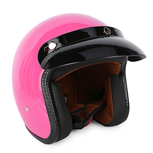 3/4 Fiberglass Moped Open Face Scooter Bobber Motorcycle Helmet (L, Rose)