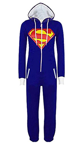 TheGO2 – Superman Batman Hooded Footless Unisex Zip Front One Piece Costume Onesie Jumpsuit Pajamas (XLarge, (Superman Adult Onesie)