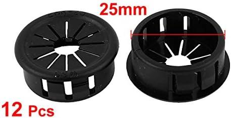 Sourcingmap/® 25 mm diam/ètre palm/és Snap in oeillet Bague en Plastique Noir 12pcs