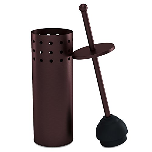 - Home Intuition Bronze Vented Toilet Plunger and Canister Holder Drip Cup, 1 Pack