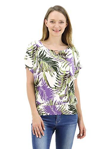 BENANCY Womens Batwing Banded Bottom Shirring Dolman Tops Tshirt White Lavender XL