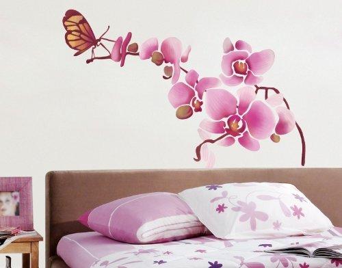 Pared de tatuajes DS 1032 pared pegatinas orquídea con mariposa ...