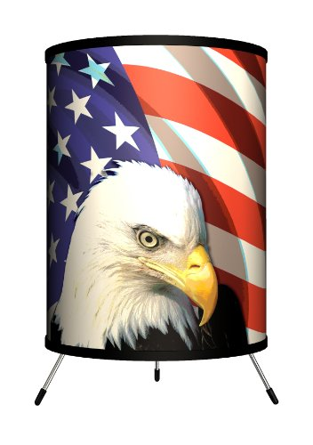 Lamp-In-A-Box TRI-TRV-EAGLE Travel Eagle and Flag Tripod Lamp, 8'' x 8'' x 14'' by Lamp-In-A-Box