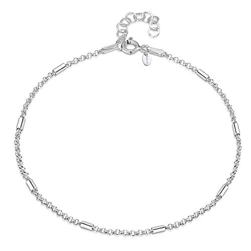 Adjustable Rolo Chain - 925 Fine Sterling Silver 1.4 mm Adjustable Anklet - Belcher Rolo Chain with Tubes Ankle Bracelet - 9
