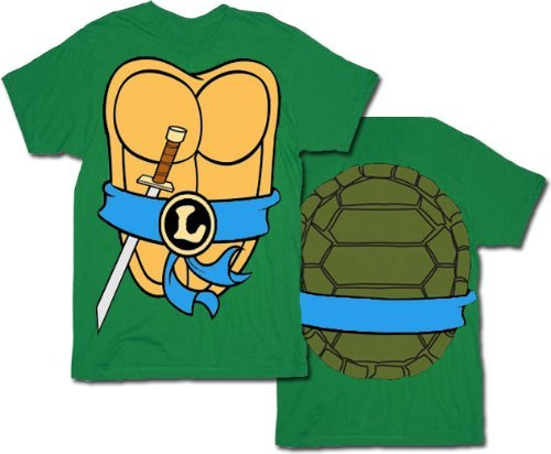 Mighty Fine TMNT Teenage Mutant Ninja Turtles Leonardo Costume Green Adult T-shirt Tee (Large) (Teenage Mutant Ninja Turtles Halloween)