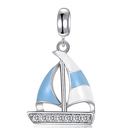 Stepforward Sporty Series 925 Sterling Silver Sailing Boat Charm Fit Bracelet and Necklace