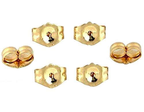 14K Yellow Gold Earring Backs Ear Locking (6 Piece) (14k Gold Yellow Replacement)
