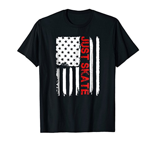 Just Skate July 4th American Flag Shirt Roller Skating Gift ()