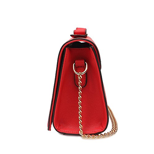 Handbags Strap Chain for Small with Pu Purse Leather Bags Wallet Crossbody Red Shoulder Women Bowknot qzOaqwp