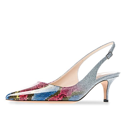 Modemoven Women's Blue Snake Skin Patent Leather Pointed Toe Slingback Ankle Strap Kitten Heels Pumps Evening Stiletto Shoes - 10 M US