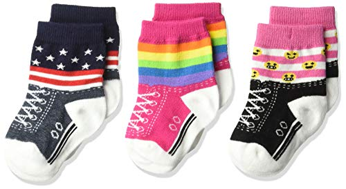 K. Bell Baby Girls Super Soft Novelty Crew Socks (3 Pair), Blue/Pink/White (Rainbow Stripe), 12-24 Months (Wholesale Baby Socks)