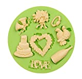 Creationtop Silicone Mold Teddy Bears Fondant and Gum Paste Candy Cake Baking Mold For Cake Decorating (Wedding Love)