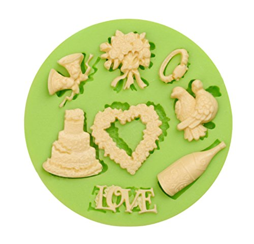 Creationtop Silicone Mold Teddy Bears Fondant and Gum Paste Candy Cake Baking Mold For Cake Decorating (Wedding Love) ()