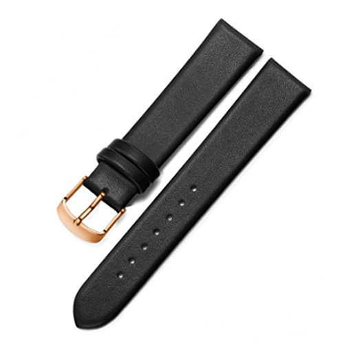 Real Leather Watchband Black Brown Smooth Watch Band 22mm 20mm 18mm 16mm Men's Genuine Leather Straps Belt Metal Pin Buckle (22mm, Black(Rose gold buckle))