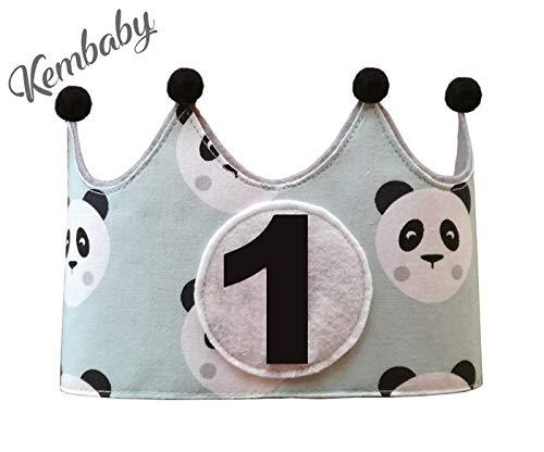 Corona primer cumpleaños 1 año para niños pandas verde mint ...