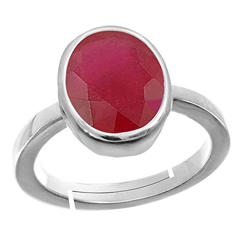 GEMS HUB 5.00 Ct.-5.50Ct. Ruby/Manik Stone Silver Adjustable Ring for Men… by GEMS HUB