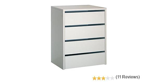 Cajonera de armario color blanco brillo, 4 cajones, mueble auxiliar para almacenamiento extra. 61cm altura x 46cm ancho x 45cm fondo