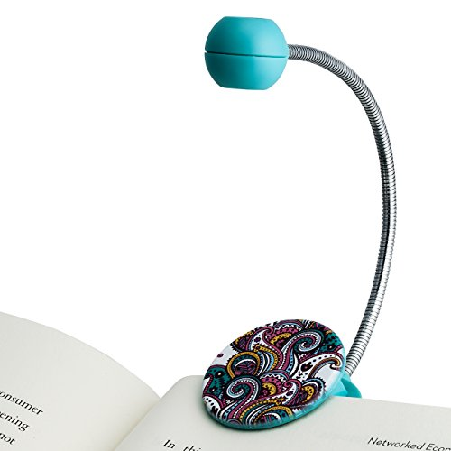 - WITHit Disc LED Reading Light - Paisley pattern - LED Book Light with Chrome Neck for Books, E-Reader and E-Book Light.