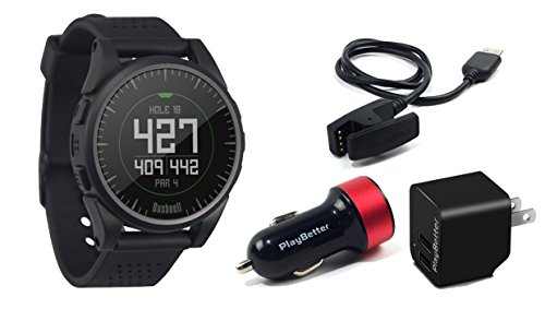 Bushnell Excel (Black) Golf GPS Watch | Power Bundle with PlayBetter USB Car & Wall Charging Adapter | Color Display, 35,000+ Worldwide Courses by PlayBetter