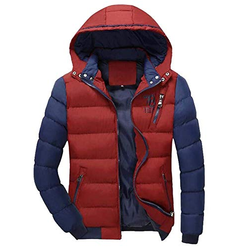 Warm Men's Side Orange Sleeve Coat with Hat Jacket Winter Pockets Detachable Hooded Padded Zipper Down Jacket Streetwear Long drwOqr4
