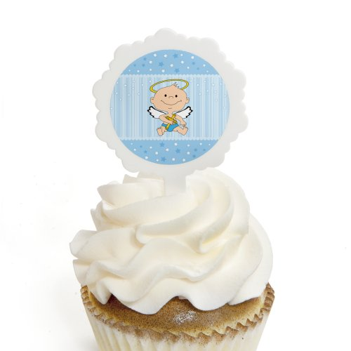 Angel Baby Boy - Cupcake Picks with Stickers - Baptism Cupcake Toppers - 12 Count